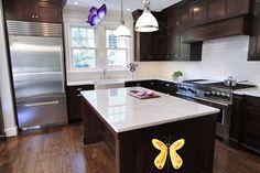 Bradford Designs - kitchens - polished carrara marble countertops, dark walnut cabinets, dark kitchen cabinets, dark walnut kitchen cabinets...<br>