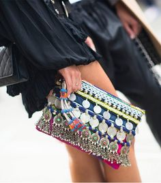 embellished clutch.