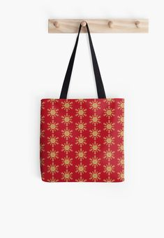 Golden Glitter Sparkle Snowflake on Christmas Red by podartist Dazzling sparkling photo-effect fine gold glitter snowflakes with twelve double forked branches and center star on cranberry red Red Throw Pillows, Designer Throw Pillows, Custom Tote Bags, Golden Glitter, Red S, Red Christmas, Pillow Design, Zipper Pouch, Sell Your Art