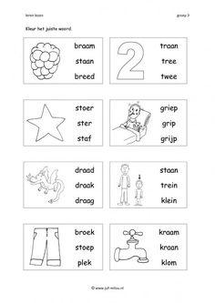Dit werkblad en nog veel meer in de categorie leren lezen kun je downloaden op de website van Juf Milou. Preschool Worksheets, Kids Education, Spelling, Homeschool, Language, Classroom, Teaching, Fun, Homework