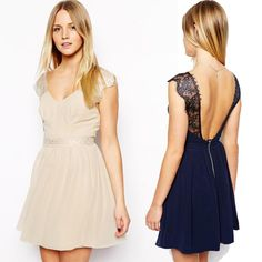 summer casual dress sexy lace halter chiffon dress