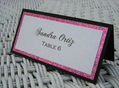 Black White and Hot Pink Bling Escort Card by InvitationsbyJill
