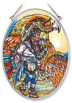 Amia Hand Painted Glass Suncatcher with Native American Eagle Dancer Design, 5-1/4-Inch by 7-Inch Oval by Amia. $19.00. Includes chain. Comes boxed, makes for a great gift. Handpainted glass. Amia glass is a top selling line of handpainted glass decor. Known for tying in rich colors and excellent designs, Amia has a full line of handpainted glass pieces to satisfy your decor needs. Items in the line range from suncatchers, window decor panels, vases, votives and much more.