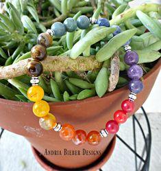 7 Stone Chakra Bracelet, Silver metal, gemstone stretch cord, wrist yoga jewelry.