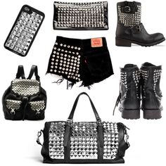 DIY: Studs and Spikes in 4 Easy Steps  Various studded and spiked items.