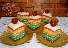 Rainbow cake kukus Ny. Liem Gingerbread, Diy And Crafts, Food And Drink, Rainbow, Desserts, Recipes, Beverage, Birthday Ideas, Foods