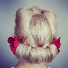 Vintage photo shoot #vintage #rolls #victory rolls #hairup #hair #blonde #lkhair www.lkhair.com hair by Katy
