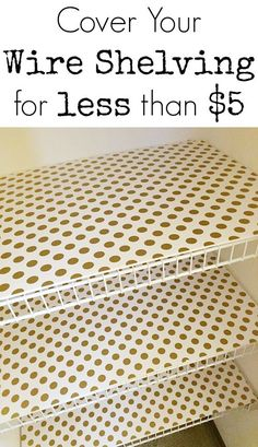$100 Room Makeover: Wrapping Paper Lined Foam Board Shelves - Lemons, Lavender, & Laundry