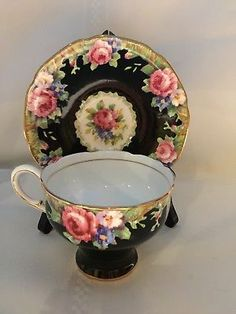 Rare Paragon Double Warrant Black Tapestry Rose Cup And Saucer 1939-1949