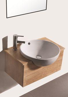 Massief Houten Wastafel met Keramiek kom 8016  SOL 188 Small Bathroom Layout, Small Bathroom Sinks, Lave Main Design, Rustic Bathroom Shower, Casa Petra, Small Toilet Room, Washbasin Design, White Master Bathroom, Toilet Sink