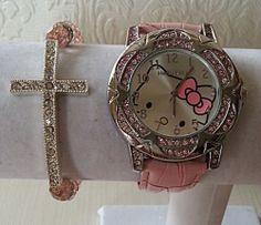f2878fb8aeb61b Pink Silver Hello Kitty Watch Swarovski Bead Bracelet Set
