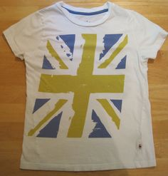 Johnnie B~Boden~Boys~Size XS 9 10 11 12~Union Jack Blue Yellow~Short Tee Shirt #MiniBoden #Everyday
