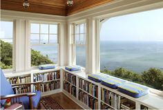 Wonderful library with a beautiful view, could put this in my seaside homes too. I love this place.