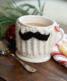 Mustache Mug Hug--my college kid would love this--free pattern