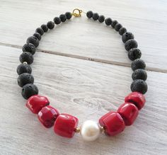 Red coral necklace black lava necklace with pearl by Sofiasbijoux