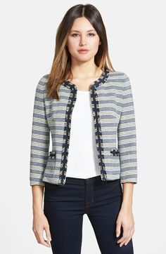 Free shipping and returns on Weekend Max Mara 'Pagode' Collarless Jacket at Nordstrom.com. A ladylike jacket tailored from a freshly striped tweed from Italy is cut with three-quarter sleeves and edged with raw fringe and grosgrain trim.