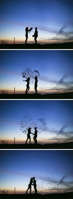 Cool silhouette engagement photo idea of a couple throwing fall leaves into a he. Cool silhouette engagement photo idea of a couple throwing fall leaves into a heart shape during sunset! Fun Red Wing, MN engagement picture by Brovad. Couple Photography, Engagement Photography, Photography Poses, Wedding Photography, Fall Photography, Pre Wedding Shoot Ideas, Pre Wedding Photoshoot, Fall Pictures, Fall Photos