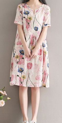 Women loose fitting over plus size retro flower linen dress long floral tunic #Unbranded #dress #Casual