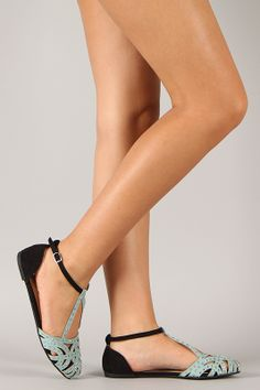 Qupid Salya-698 Suede Two Tone Jeweled Cut Out Flat