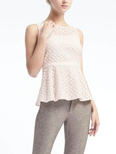 Embroidered Floral Peplum Top | Banana Republic