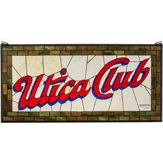 35 Inch W X 17 Inch H Utica Club Stained Glass Window - Custom Made
