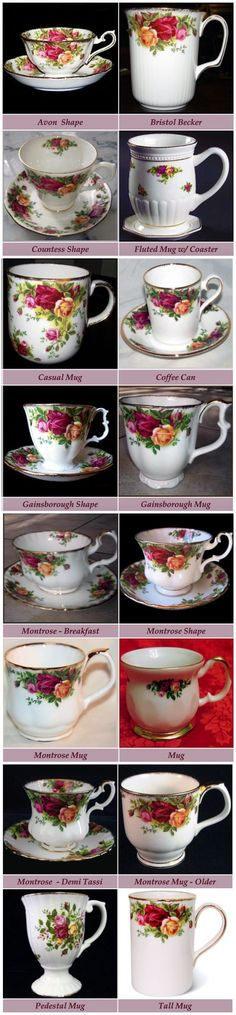 Complete Guide to Royal Albert Old Country Roses Tea Cup Shapes, courtesy of the Royal Albert Reference Web Site