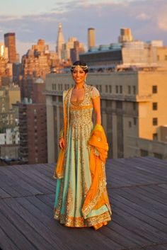 Incredible Indian gown in light teal and marigold, with tons of detail. Beautiful!