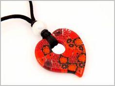 Pendentif rouge verre facon Murano style Millefiori
