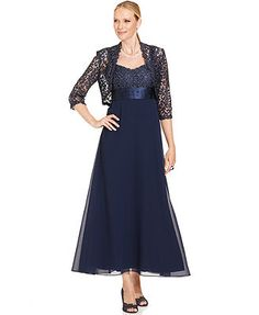 Long dress? removable jacket - R&M Richards Dress and Jacket, Sleeveless Crochet-Lace Gown