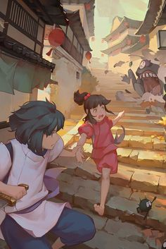 Spirited Away (千と千尋の神隠し) Studio Ghibli (Hayao Miyazaki) Anime Movie Studio Ghibli Art, Studio Ghibli Movies, Film Anime, Anime Art, Spirited Away Wallpaper, Personajes Studio Ghibli, Couples Anime, Chihiro Y Haku, Studio Ghibli Spirited Away