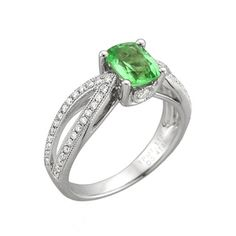 Green Engagement Rings by @Yael Designs on Brides.com