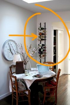 >> Enter Slideshow  Home improvements have been moving along slowly, but we get something new done about every two weeks or so.  Last weekend it was putting in a new wine rack that we originally spotted in a restaurant on Lafayette street and which Sara Kate then found online....