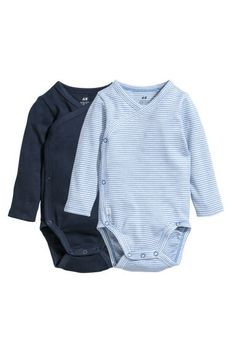 Trousers in soft organic cotton jersey with wide foldover ribbing at the waist and full feet. H&m Fashion, Fashion Online, Bodies, Coton Bio, Long Sleeve Bodysuit, Fashion Company, Blue Stripes, Boy Outfits, Organic Cotton