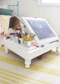 kitchen cabinet into a child s desk, kitchen cabinets, kitchen design, painted furniture