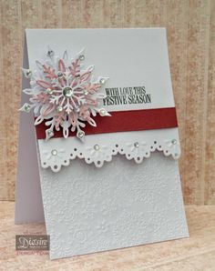 Christmas card made using Crafter's Companion Die'sire Snowflake die, Border die, snowflake Embossing folder and sentiment. By Liz Walker #snowflake