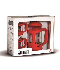 Prensa Francesa Bialetti - 800 ml com duas canecas cor vermelha
