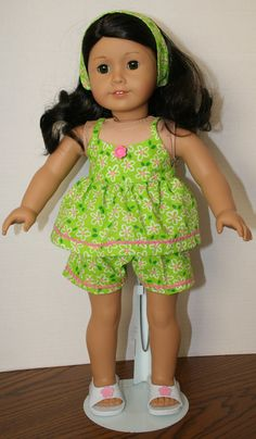 Green Pink Daisy Shorts Outfit by KathiesDollCloset on Etsy, $8.99