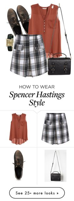 """Spencer Hastings inspired outfit"" by liarsstyle on Polyvore featuring Forever 21, H&M, Geneva, school, college and old"