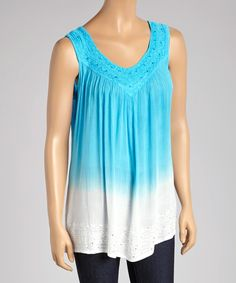 Take+a+look+at+the+Turquoise+&+White+Sleeveless+Swing+Top+-+Women+on+#zulily+today!