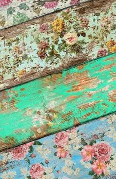 Paint and wallpaper boards and then distress with sandpaper. Cool vintage feel. by julianne