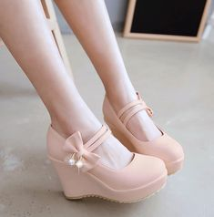 Vintage Shoes Sweet princess bowknot wedge heels - Color:white,black,beige,pink, Size here: is for Foot B(M) US D(M) US Men = EU size 35 = Shoes length Fit foot length B(M) US D(M) US Men = EU size 36 = Shoes length Fit foot length B(M) US Wom Fancy Shoes, Pretty Shoes, Beautiful Shoes, Bridal Shoes, Wedding Shoes, Kawaii Shoes, Lolita Shoes, Cute Heels, Prom Shoes