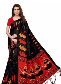 Black Printed Khadi Silk Saree With Blouse Piece link in bio COD Available | Free Return & Full Refund Price: ₹499 Feel free to call us on +91-7999219541 if you need any help with ordering online. Thank you #khadi #handloom #cotton #saree #handmade #fashion #sustainablefashion Designer Silk Sarees, Art Silk Sarees, Silk Sarees Online, Fancy Sarees, Party Wear Sarees, Designer Sarees Online Shopping, Black Saree, Black Blouse, Red Saree