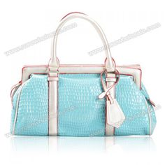 Wholesale Casual Women's Tote Bag With Candy Color and Patent Leather Design (BLUE), Tote Bags - Rosewholesale.com