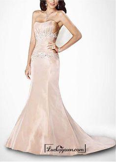 Beautiful Elegant Satin Mermaid Sleeveless Wedding Dress In Great Handwork