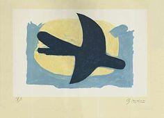 """Georges Braque (Argenteuil 1882 - 1963 Paris) """"Oiseau bleu et jaune"""