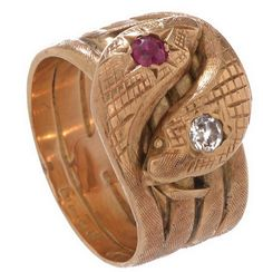#Victorian, rose #gold finely engraved #ruby and #diamond double #snake head #ring by @turnerandtatler