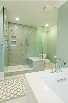 """Mosaic Tiles: Toledo Lucido Glass and Stone Water Jet Mosaic from """"Artistic Tile"""" .  Designed by Michaelson Homes LLC."""