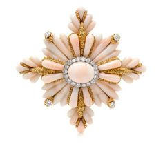 An 18 Karat Yellow Gold, Coral and Diamond Maltese Cross Brooch, Wander, France