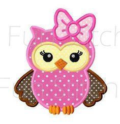 Girl owl applique machine embroidery design