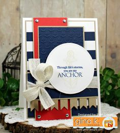 Paper Crafty's Creations Stamps: My Anchor Mini Kit Ink: GKD In the Navy & Kraft Paper: Pure Luxury Card Stock - White (Heavy Base), In The Navy, Kraft, & Red Hot Tools: Double Stitched Circles (Cottage Cutz), Scor-Buddy Other: Foam Squares